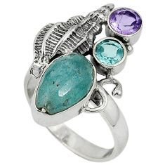 Natural blue aquamarine amethyst 925 silver conch shell ring size 8.5 j34426