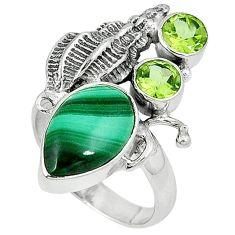 925 silver natural green malachite (pilot's stone) shell ring size 7 j36944