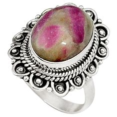 Natural pink ruby in fuchsite oval 925 sterling silver ring size 7.5 j41044