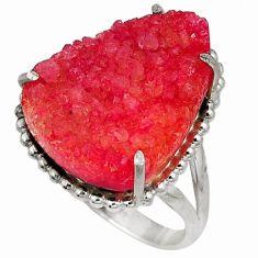 Orange druzy pear shape 925 sterling silver ring jewelry size 8 j41217