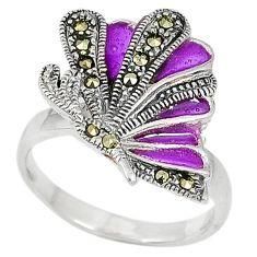 Victorian marcasite purple enamel 925 silver two tone ring jewelry size 8 j42844