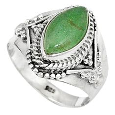 Green jade marquise shape 925 sterling silver ring jewelry size 7 j43017