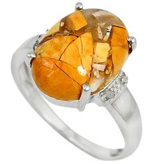 Diamond brecciated mookaite (australian jasper) 925 silver ring size 7 j43421