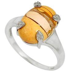 Diamond brecciated mookaite (australian jasper) 925 silver ring size 9 j43422