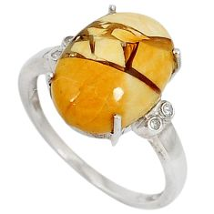 Diamond yellow brecciated mookaite (australian jasper) silver ring size 7 j43424