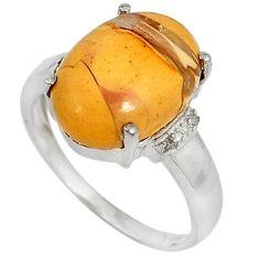 925 silver diamond brecciated mookaite (australian jasper) ring size 7 j43425
