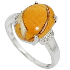 Diamond yellow brecciated mookaite (australian jasper) silver ring size 8 j43426