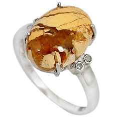 Diamond yellow brecciated mookaite (australian jasper) silver ring size 7 j43428
