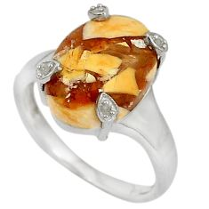 Diamond yellow brecciated mookaite (australian jasper) silver ring size 7 j43429