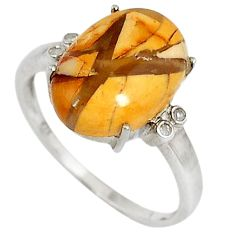 Diamond yellow brecciated mookaite (australian jasper) silver ring size 8 j43430