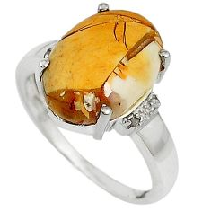 Diamond yellow brecciated mookaite (australian jasper) silver ring size 7 j43431
