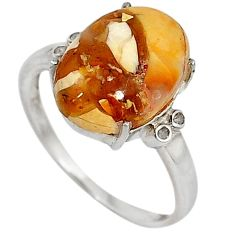 Diamond yellow brecciated mookaite (australian jasper) silver ring size 8 j43432