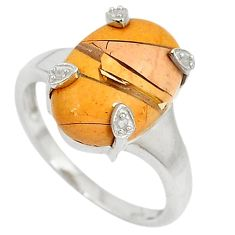 Diamond yellow brecciated mookaite (australian jasper) silver ring size 7 j43434