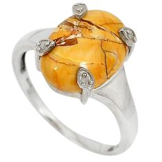 Diamond yellow brecciated mookaite (australian jasper) silver ring size 9 j43435