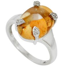 Diamond yellow brecciated mookaite (australian jasper) silver ring size 7 j43437