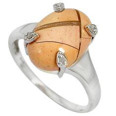 Diamond brecciated mookaite (australian jasper) 925 silver ring size 9 j43438