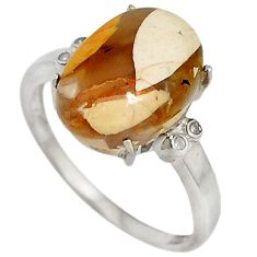 Diamond yellow brecciated mookaite (australian jasper) silver ring size 8 j43439