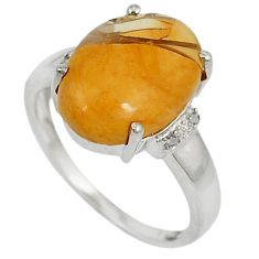 Diamond yellow brecciated mookaite (australian jasper) silver ring size 7 j43440