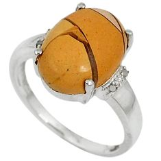 Diamond yellow brecciated mookaite (australian jasper) silver ring size 7 j43497