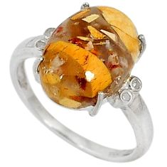 Diamond brecciated mookaite (australian jasper) 925 silver ring size 7 j43499