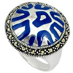 Swiss marcasite enamel 925 sterling silver ring jewelry size 7.5 j43846