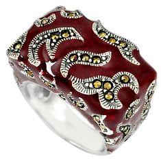Fine marcasite brown enamel 925 sterling silver ring jewelry size 7.5 j43849