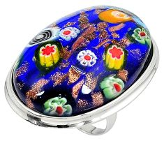 925 sterling silver multi color italian murano glass ring jewelry size 7 j43920