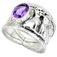 925 sterling silver natural purple amethyst two cats ring size 7.5 j47985