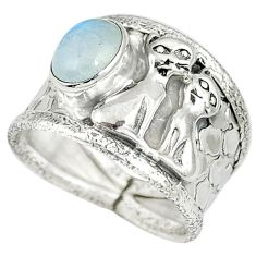 Natural rainbow moonstone 925 sterling silver two cats ring size 7.5 j47990