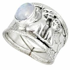 925 silver natural rainbow moonstone two cats ring jewelry size 7.5 j47991