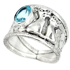 Natural blue topaz 925 sterling silver two cats ring jewelry size 8.5 j47999