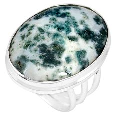 Natural white tree agate 925 sterling silver ring jewelry size 8 j49821
