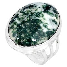 Natural white tree agate oval 925 sterling silver ring jewelry size 8 j49822