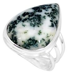 925 sterling silver natural white tree agate pear ring jewelry size 9 j49823