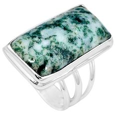 Natural white tree agate 925 sterling silver ring jewelry size 9 j49824