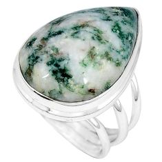 Natural white tree agate pear 925 sterling silver ring size 7.5 j49825