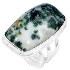 925 sterling silver natural white tree agate octagan ring jewelry size 7 j49826