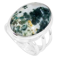 Natural white tree agate 925 sterling silver ring jewelry size 7 j49827