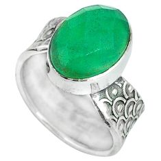 925 sterling silver green jade oval shape ring jewelry size 7 j51437
