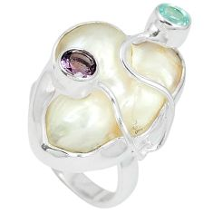 925 silver natural white mother of pearl purple amethyst ring size 9 k10534