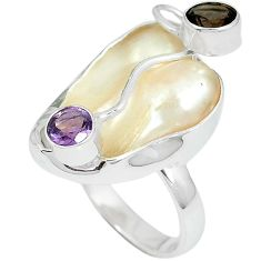 Natural watermelon mother of pearl 925 silver ring jewelry size 8 k10537