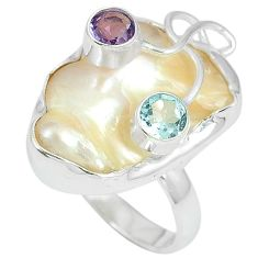 Natural white mother of pearl purple amethyst 925 silver ring size 8 k10538