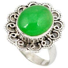 Green jade oval shape 925 sterling silver ring jewelry size 5.5 k1062