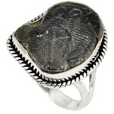 Natural black trilobite 925 sterling silver solitaire ring jewelry size 8 k1270