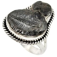 Natural black trilobite 925 sterling silver solitaire ring jewelry size 6 k1272