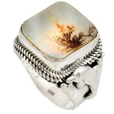 Natural scenic russian dendritic agate 925 sterling silver ring size 8 k1279
