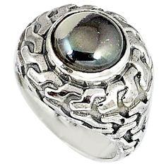 Metalic gun metal round 925 sterling silver ring jewelry size 7 k20453
