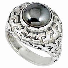 Metalic gun metal round shape 925 sterling silver ring jewelry size 8 k20454