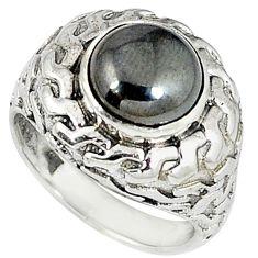 925 sterling silver metalic gun metal round ring jewelry size 9 k20455
