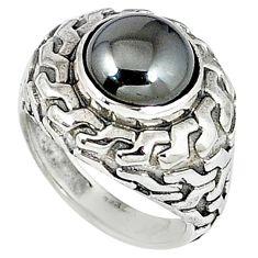 Metalic gun metal round 925 sterling silver ring jewelry size 7 k20456